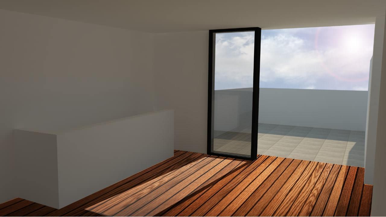 Interior cuarto en terraza