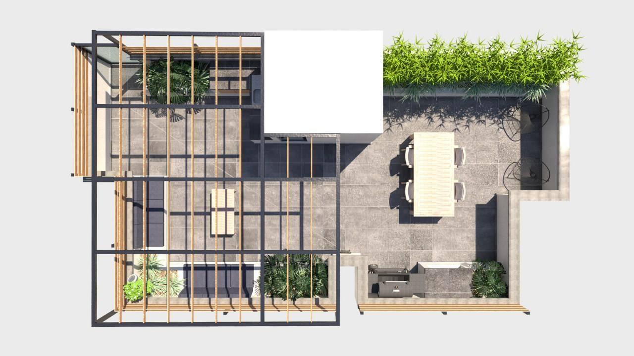 Planta arquitectónica roof garden obrero mundial con estructura