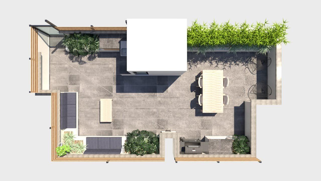 Planta arquitectónica roof garden obrero mundial