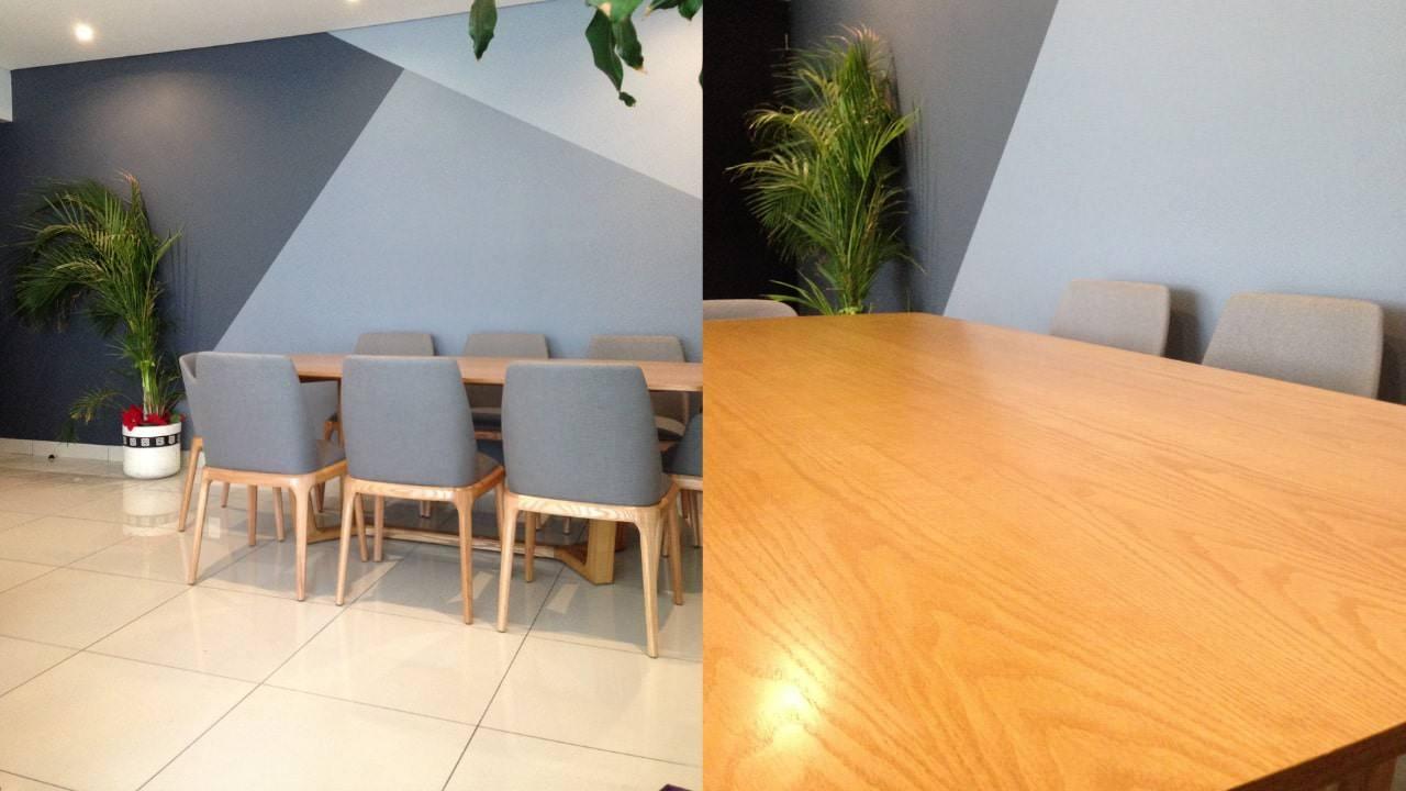 Pintura triángulos cambio acabado y tapiz en comedor residencial wtc