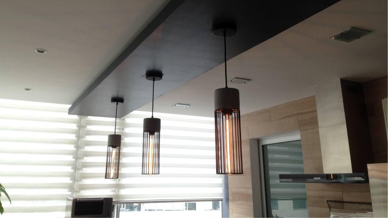 Plafon flotado lampara de concreto porcelanato madera residencial wtc