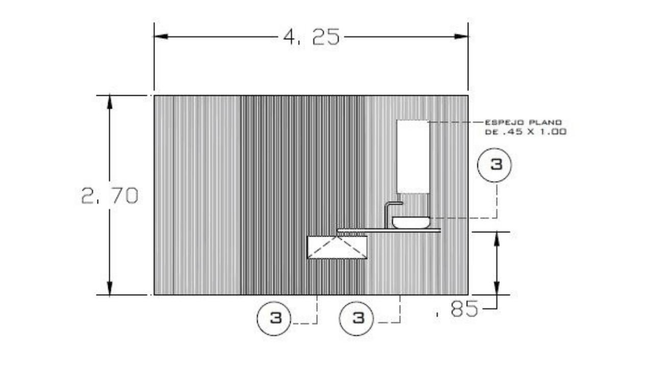 Alzado baño oficinas arquimides