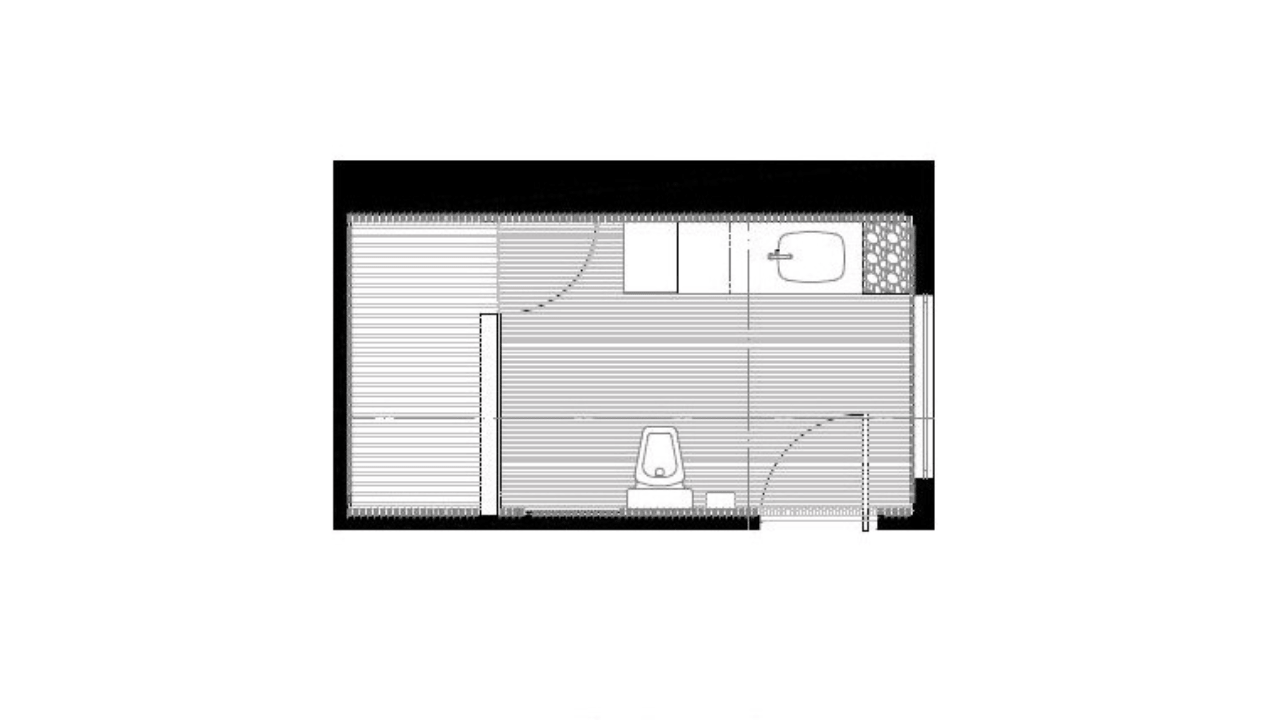 Planta arquitectónica baño oficinas arquimides